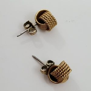 Avon Jewelry - Avon Knot Earrings Gold Tone Stud Small Textured R